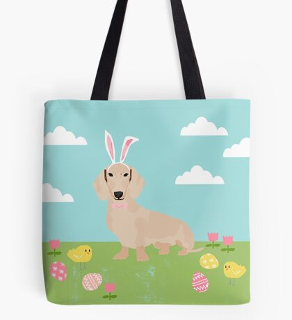 Dachshund dog breed easter pet portrait dog breed gifts pure breed dachsie doxie cream Tote Bag