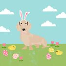 Dachshund dog breed easter pet portrait dog breed gifts pure breed dachsie doxie cream by PetFriendly