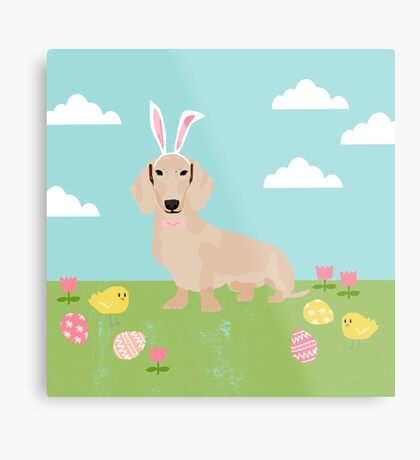 Dachshund dog breed easter pet portrait dog breed gifts pure breed dachsie doxie cream Metal Print