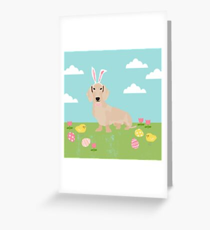 Dachshund dog breed easter pet portrait dog breed gifts pure breed dachsie doxie cream Greeting Card