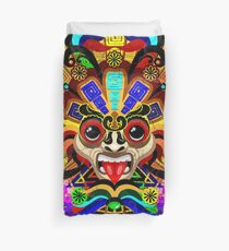 Aztec Warrior Mask Rainbow Colors Duvet Cover