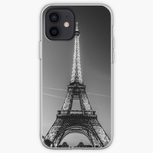 Eiffel Tower and sunset (Black and White) iPhone Soft Case