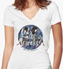 Let's Sit Crooked and Talk Straight Women's Fitted V-Neck T-Shirt