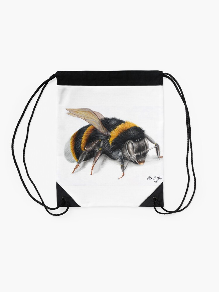 Alternate view of Bumble bee ink drawing Drawstring Bag