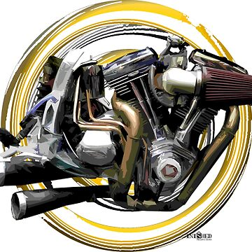 Harly Davidson Flying SBay Motorcycle engine inspired art, Inished Productions by Melimoto