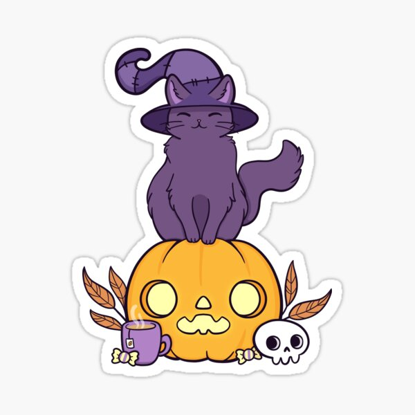 Pumpkin Cat // Black Sticker