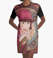 Painting of a Girl in a Red Hat in the style of Alphonse Mucha Graphic T-Shirt Dress