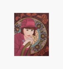 Painting of a Girl in a Red Hat in the style of Alphonse Mucha Art Board