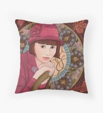 Painting of a Girl in a Red Hat in the style of Alphonse Mucha Floor Pillow