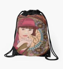 Painting of a Girl in a Red Hat in the style of Alphonse Mucha Drawstring Bag