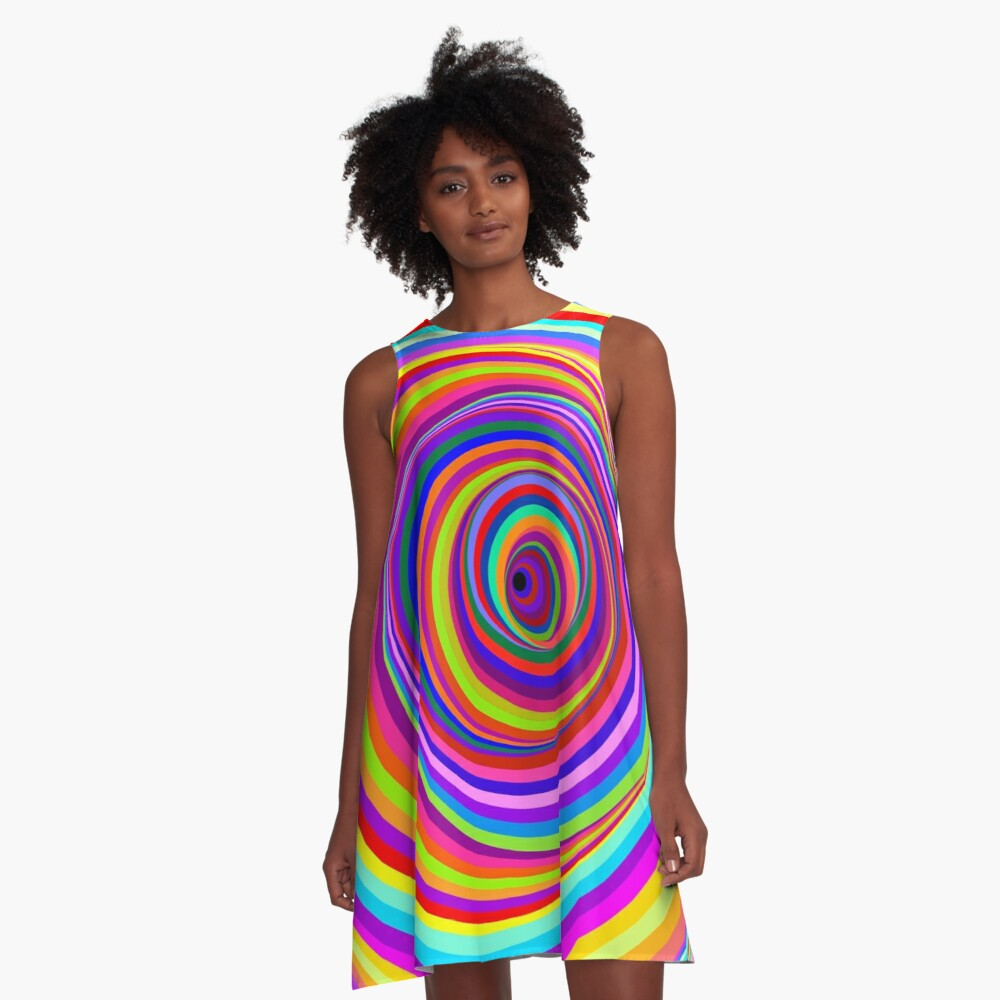 Hypnotic Psychedelic Vertigo Hole A-Line Dress