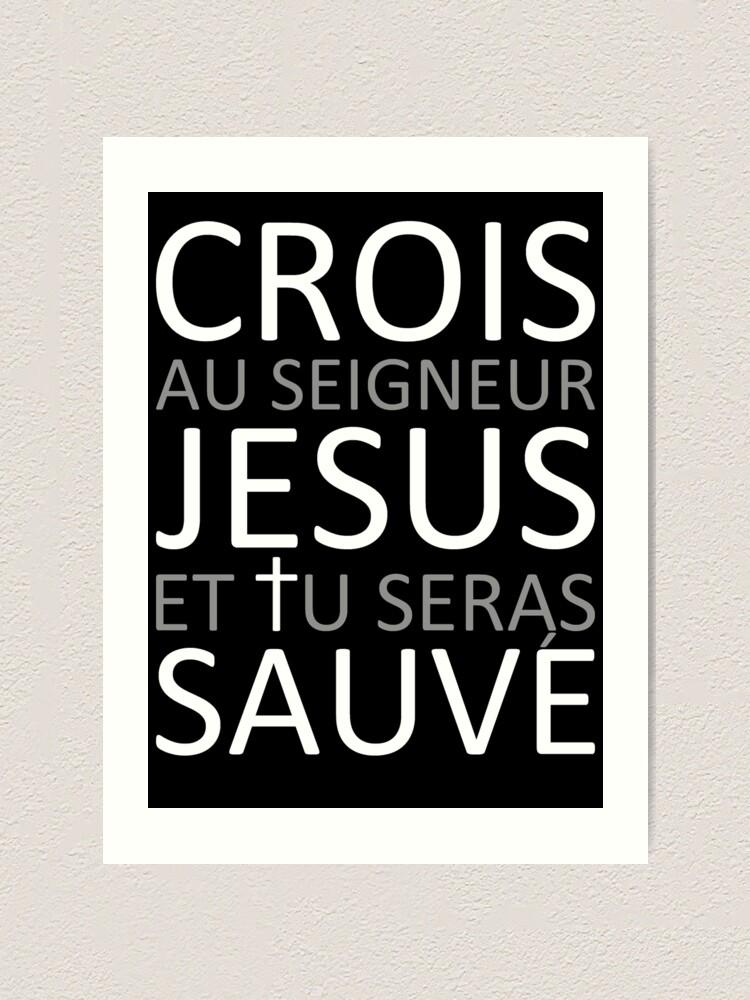 Alternate view of Believe Jesus Saves - Acts 16:31 Art Print