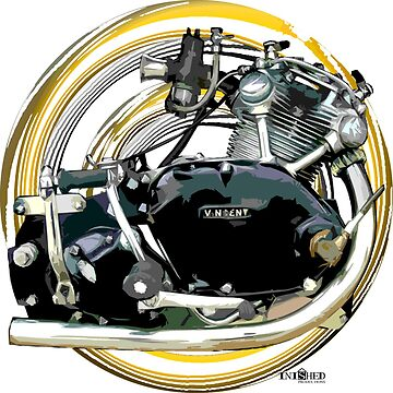 Vincent Comet 500 Motorcycle Engine Inspired Art, Inished Productions by Melimoto