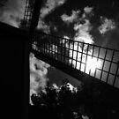 shot on iphone .. windmill silhouette by badduck09