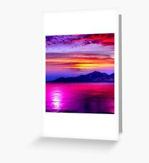 Wonderful views, sea, mountains,sunset and Nature. Greeting Card