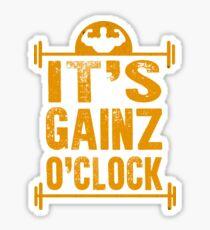 Funny Workout Shirts: Its Gainz O Clock Shirt (Gains O'Clock) Sticker