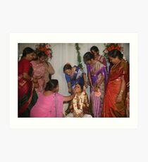 Womenfolk applying kumkum and haldi Art Print