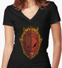 Fire and Death Women's Fitted V-Neck T-Shirt