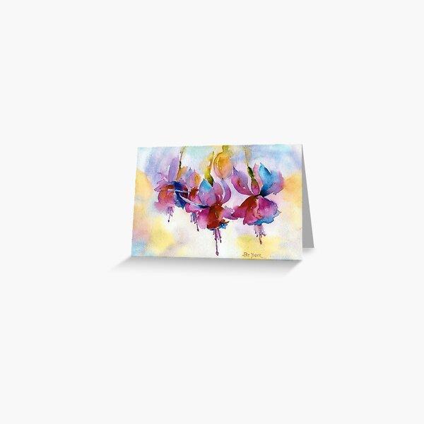 Dancing Fuchsias Watercolor Greeting Card
