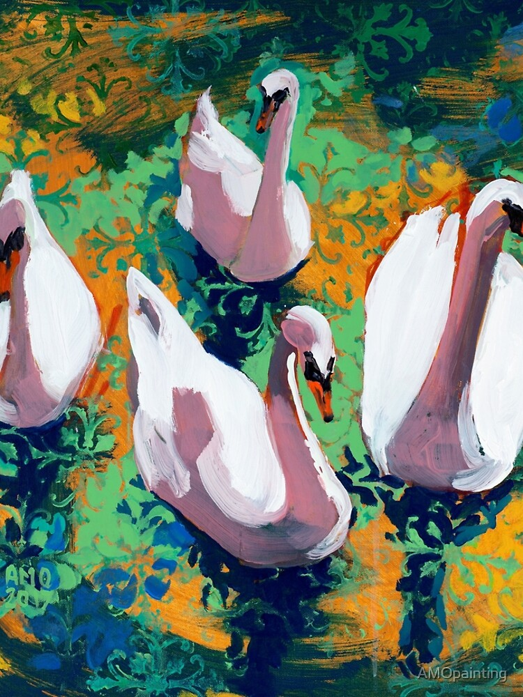 Four Swans by AMOpainting