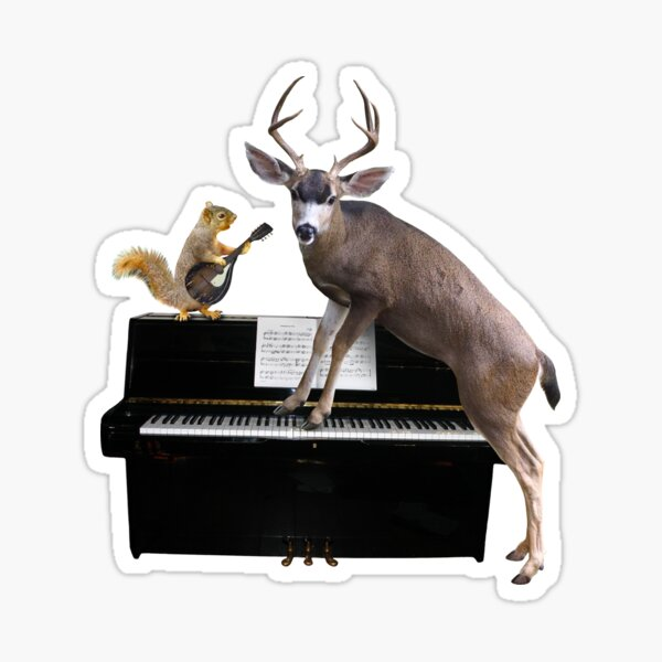 Deer and Squirrel at the Piano Sticker