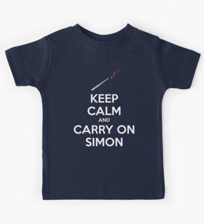 Keep Calm and Carry On Simon (White Text) Kids Clothes