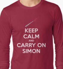 Keep Calm and Carry On Simon (White Text) Long Sleeve T-Shirt
