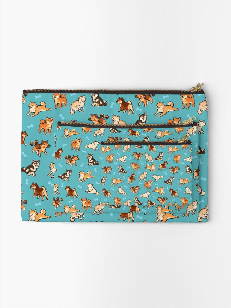 Alternate view of shibes in blue Zipper Pouch