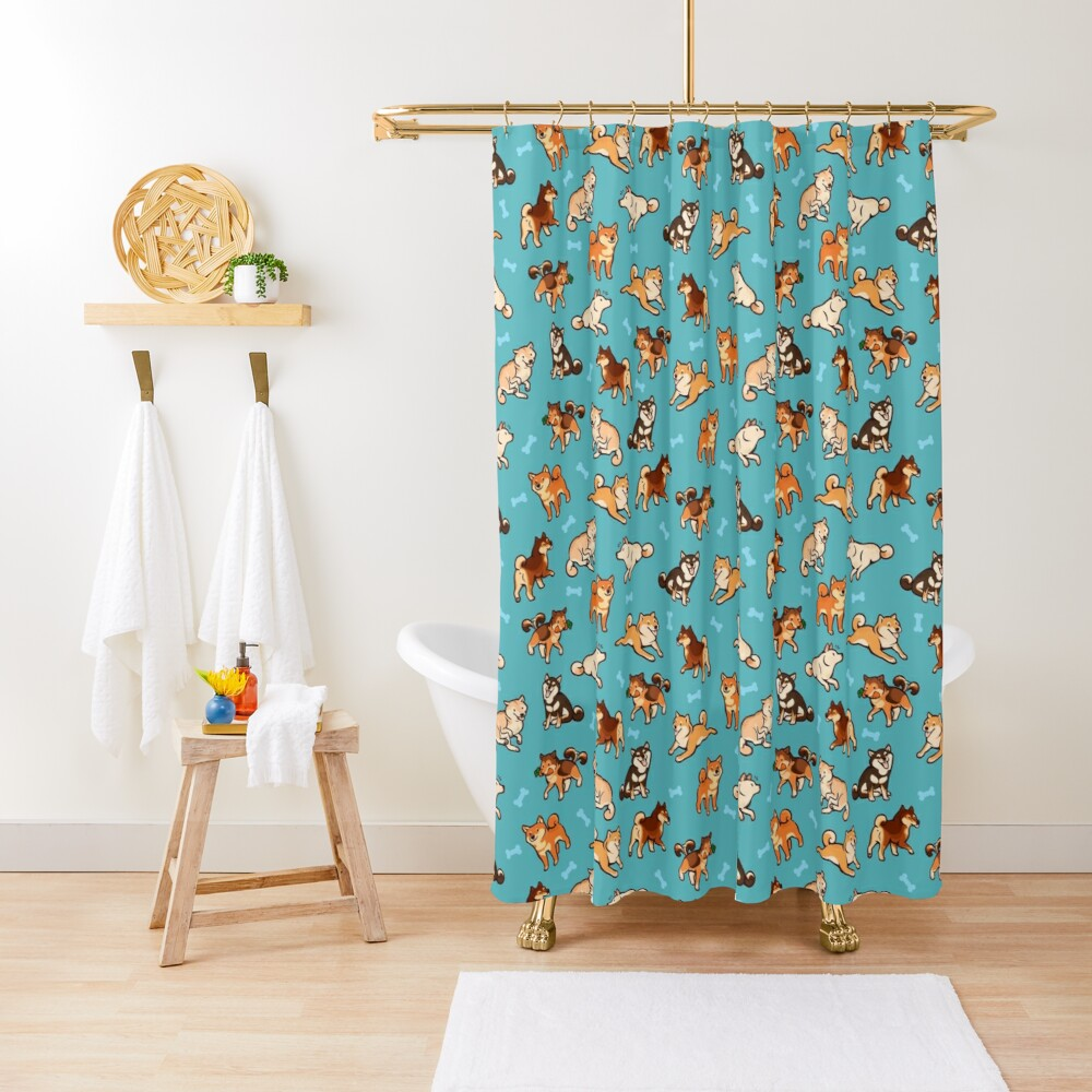 shibes in blue Shower Curtain