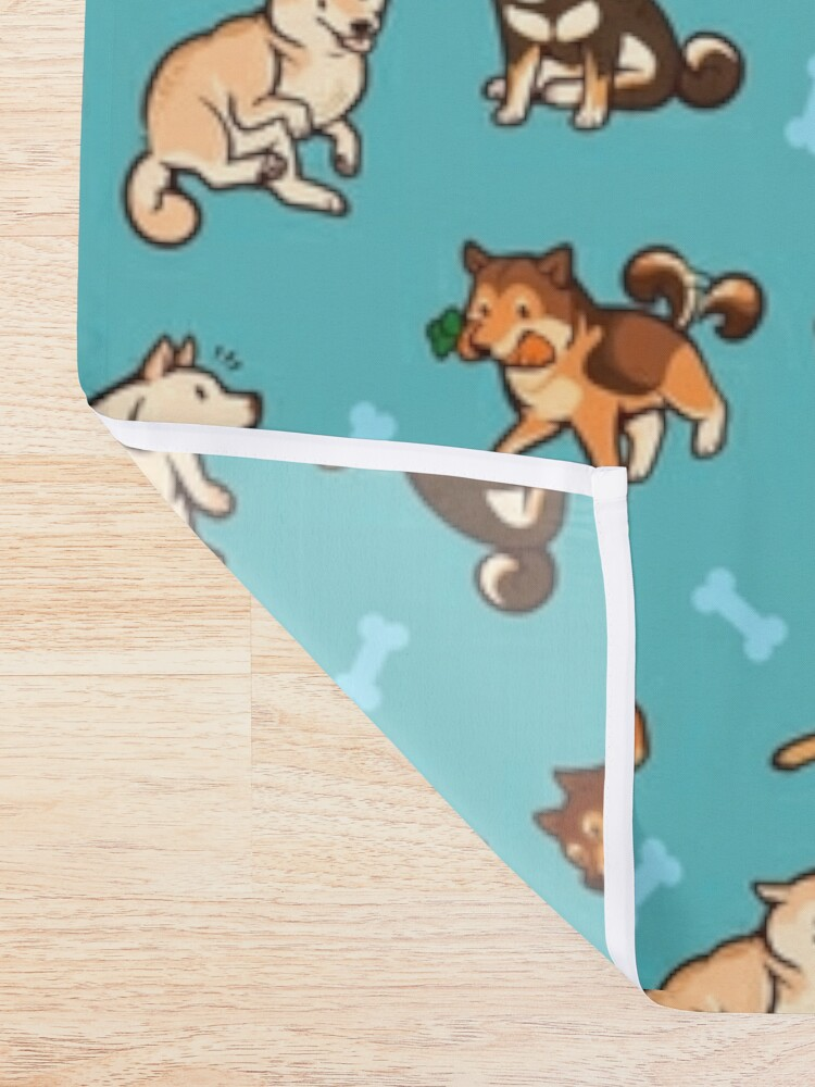 Alternate view of shibes in blue Shower Curtain