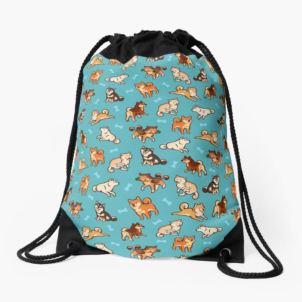 shibes in blue Drawstring Bag