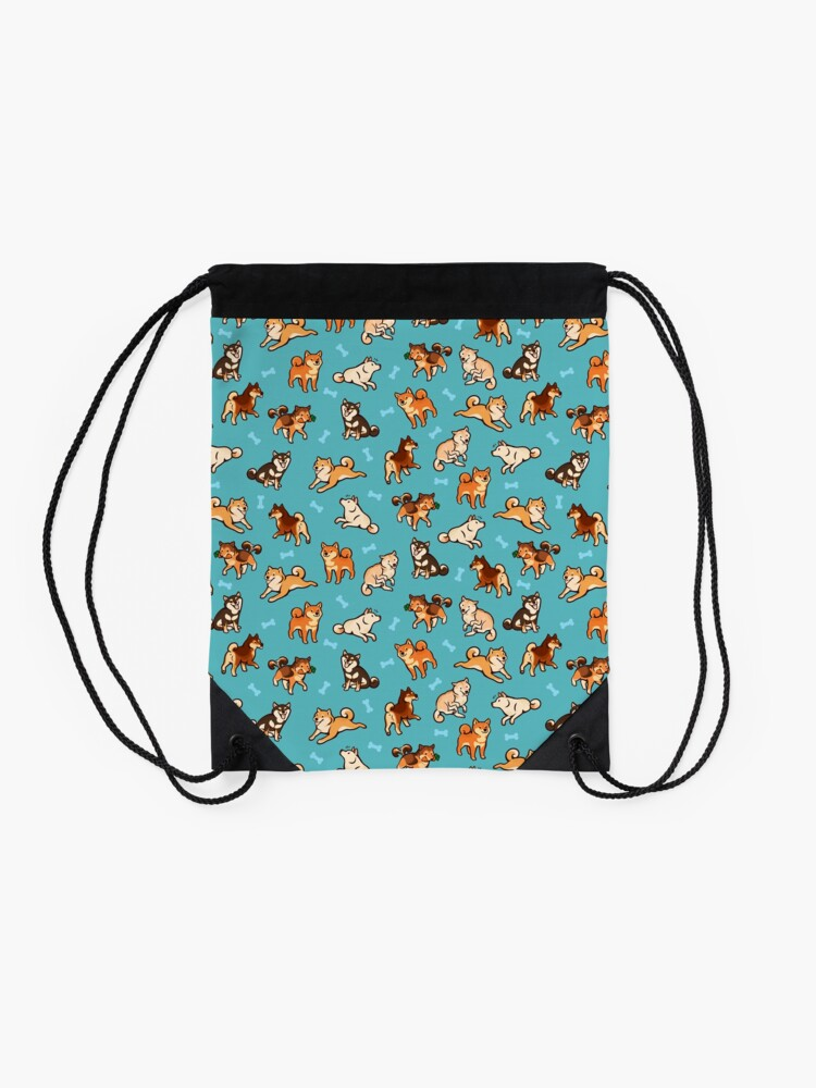 Alternate view of shibes in blue Drawstring Bag