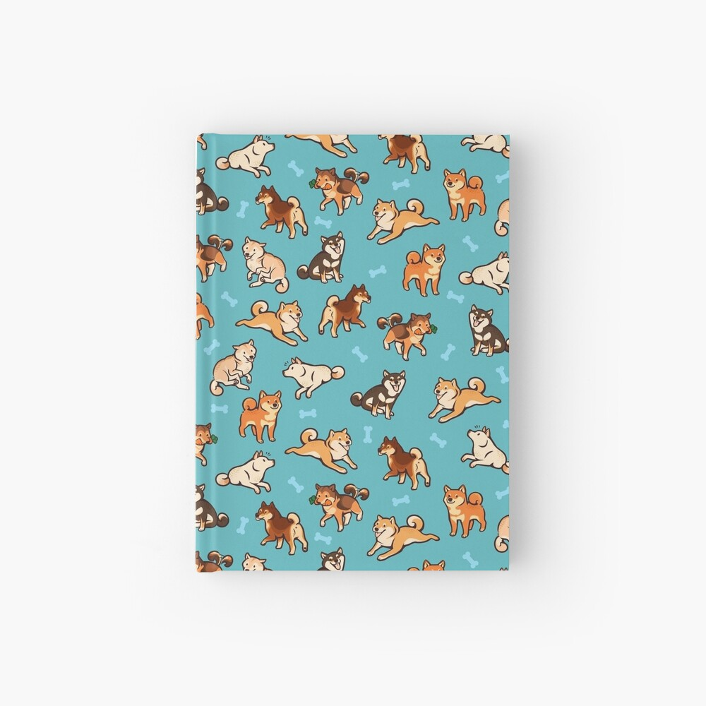 shibes in blue Hardcover Journal
