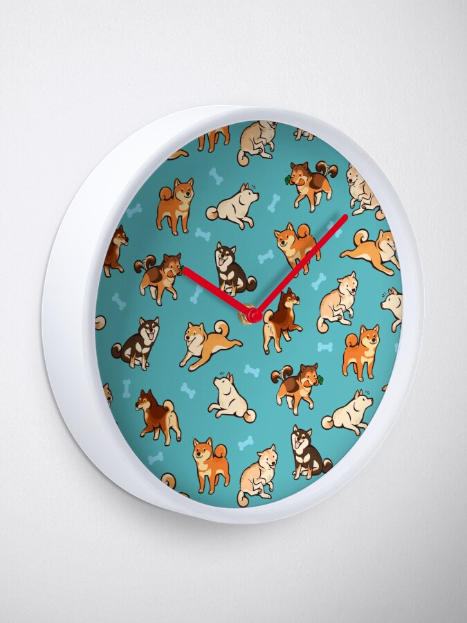 Alternate view of shibes in blue Clock
