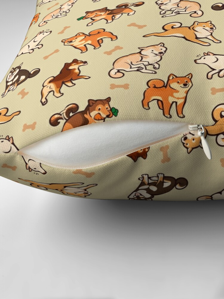 Alternate view of shibes in cream Throw Pillow