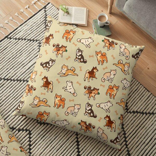 shibes in cream Floor Pillow