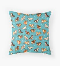 shibes in blue Throw Pillow