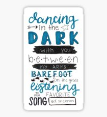 Perfect by Ed Sheeran Lyric Art Sticker