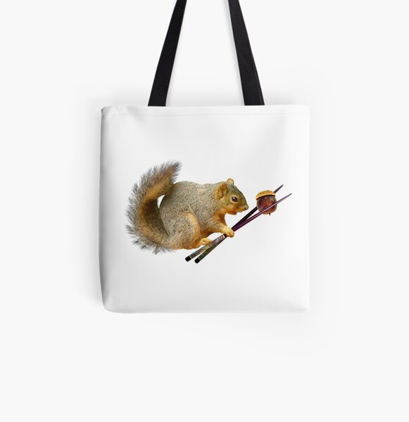Squirrel with Acorn in Chopsticks  All Over Print Tote Bag