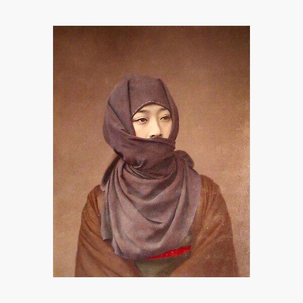 Girl in winter costume, Meiji Period, Japan Photographic Print