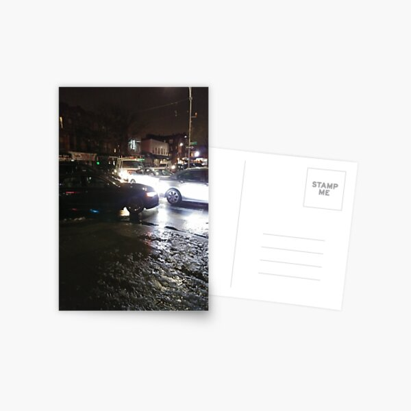 Mid-size car, New York, Manhattan, Brooklyn, New York City, architecture, street, building, tree, car, pedestrians, day, night, nightlight, house, condominium,  Postcard