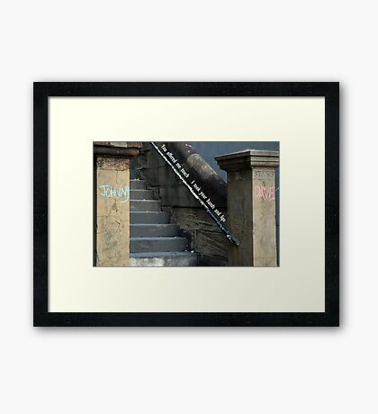 Dave and Johnny (touch hands and lips) Framed Print