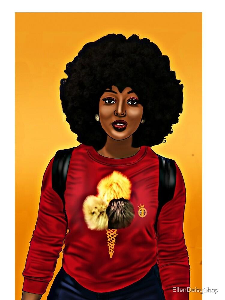 Afro Black Beauty Ice Cream cone TShirt by EllenDaisyShop