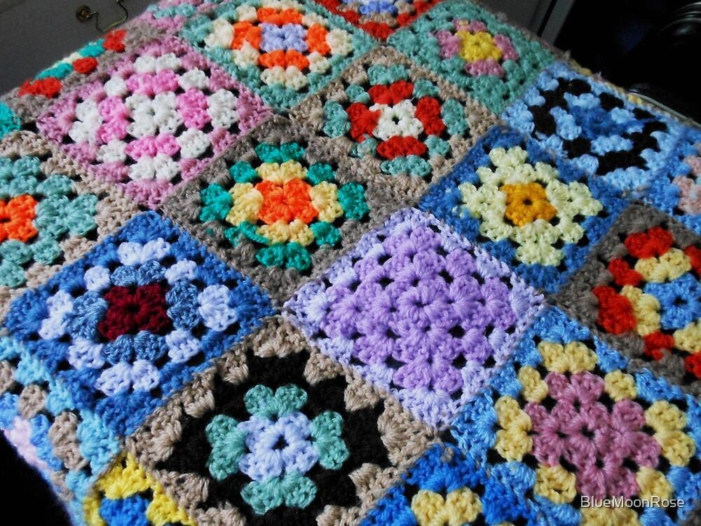 Multicoloured Knitted Cot Blanket von BlueMoonRose