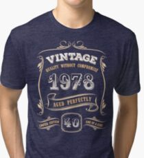 40th Birthday Gift Gold Vintage 1978 Aged Perfectly Tri-blend T-Shirt