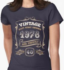 40th Birthday Gift Gold Vintage 1978 Aged Perfectly Women's Fitted T-Shirt