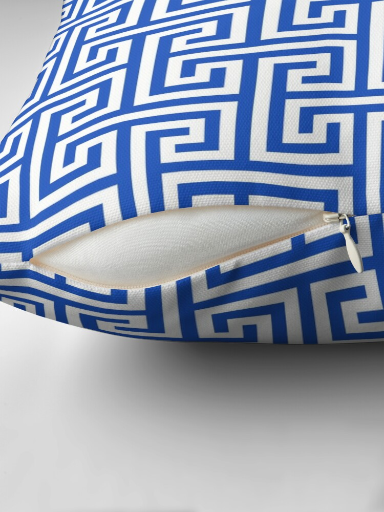 Alternate view of Geometric Pattern: Key Bridge Interlock Positive: Blue Throw Pillow
