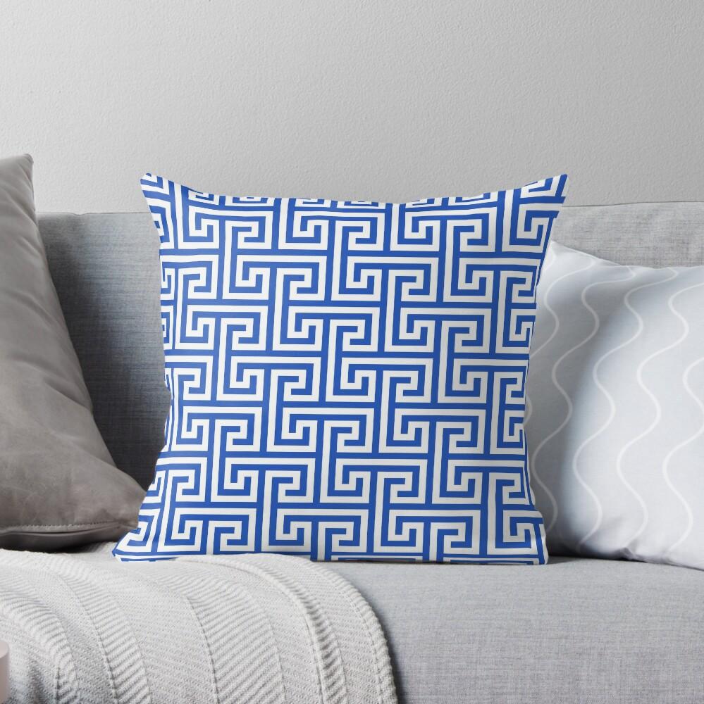 Geometric Pattern: Key Bridge Interlock Positive: Blue Throw Pillow