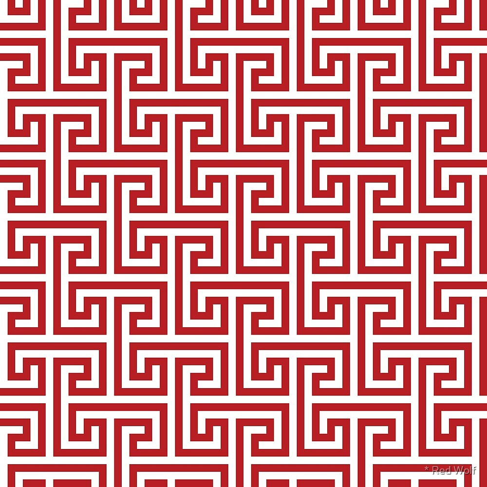 Geometric Pattern: Key Bridge Interlock Negative: Red by * Red Wolf