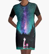 Calvin and Hobbes Galaxy Night Graphic T-Shirt Dress